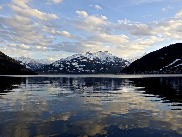 Lake, Reflection, Water, Blue, Mountains, Sky, Solitude