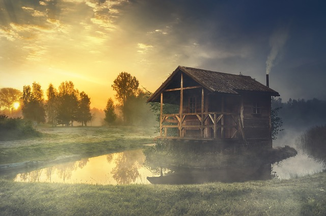 Hut, Lake, Water, Water Reflection, Landscape, Sunrise