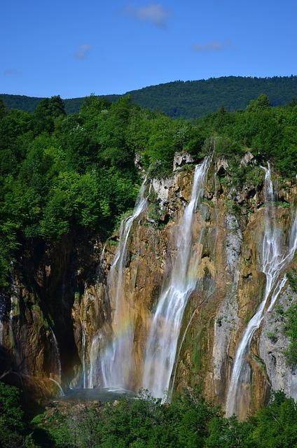 Croatia, Lake, Mountain, Sky, Waterfall