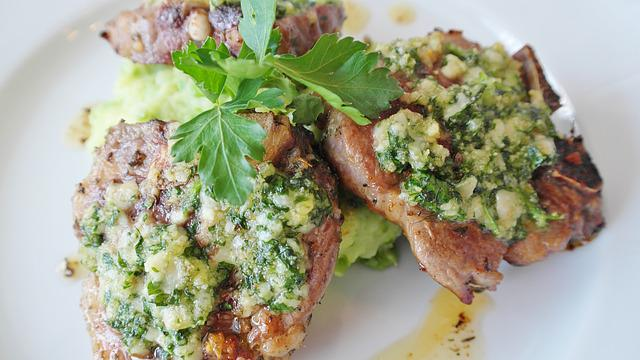 Lamb Cutlet, Lamb Meat, Parsley, Pesto, Fried, Food