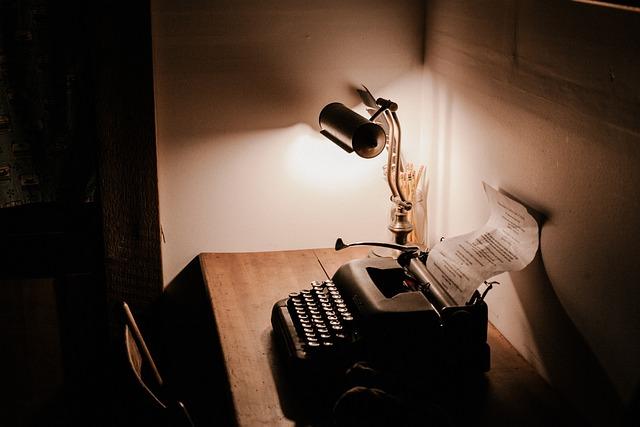Dark, Room, Office, Table, Chair, Lamp, Light