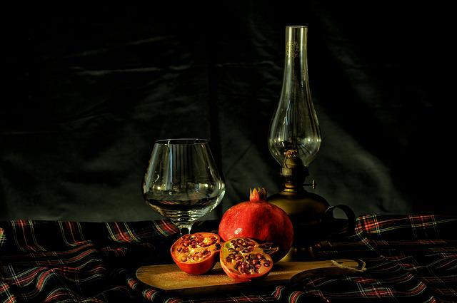 Pomegranate, Table, Glass, Lamp, Drink