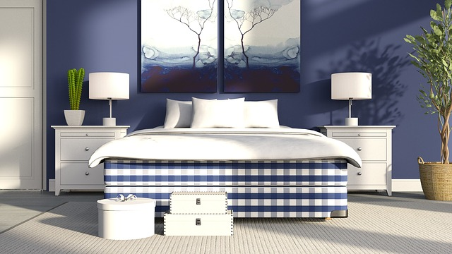 Bed, Plaid, Pattern, Bedside Table, Lamp, White, Wall