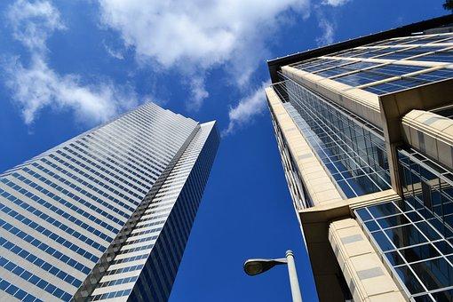 Skyscraper, Office Building, Lamp Post, Contemporary