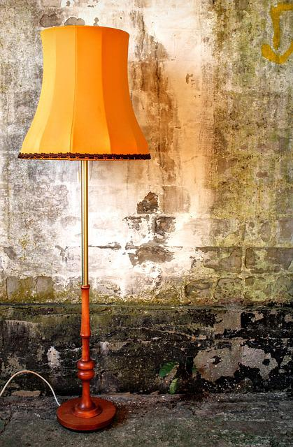 Lampshade, Lamp, Floor Lamp, Old, 70th, Abwrackhaus