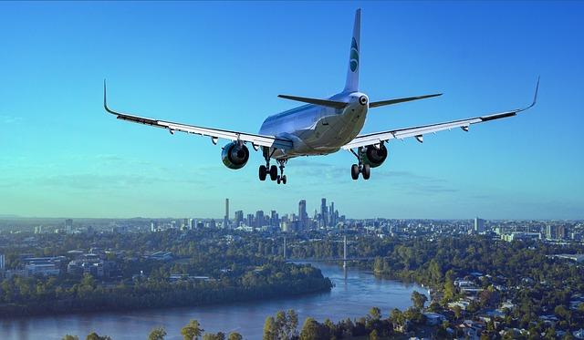 Airplane, Flight, City, Landing, River, Boeing