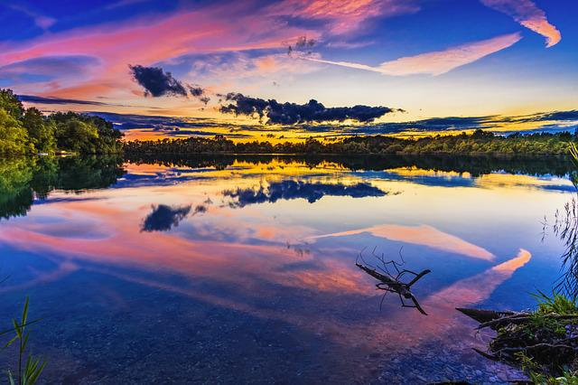 Lake, Sunset, Landscape, Abendstimmung, Clouds, Water