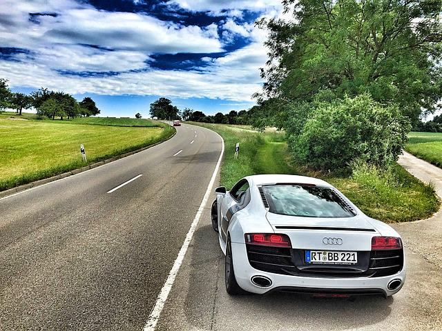 Audi, Sports Car, Auto, Pkw, Road, R8, V10, Landscape