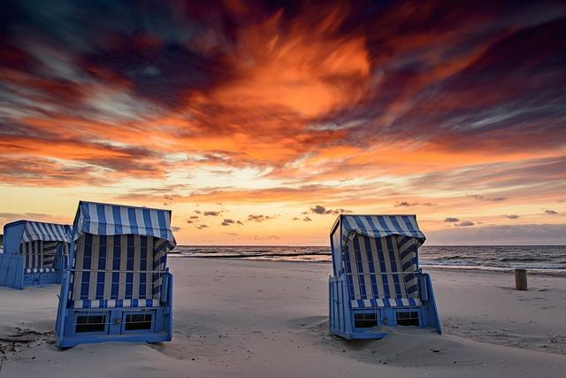 Beach, Sun, Sand, Sea, Sky, Sunset, Landscape, Usedom