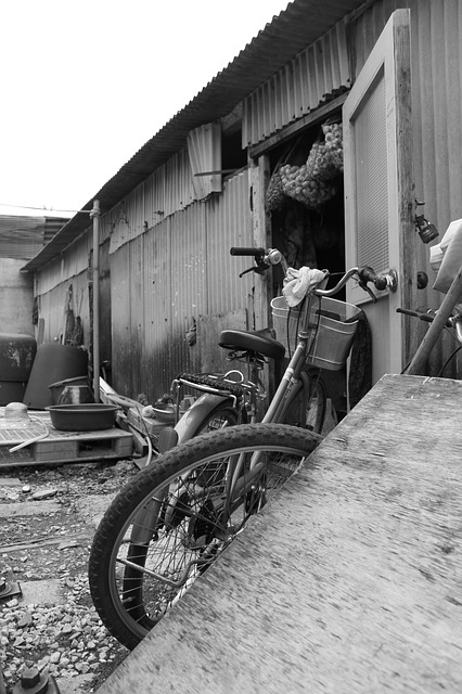 Bike, Landscape, Gunsan, Black And White