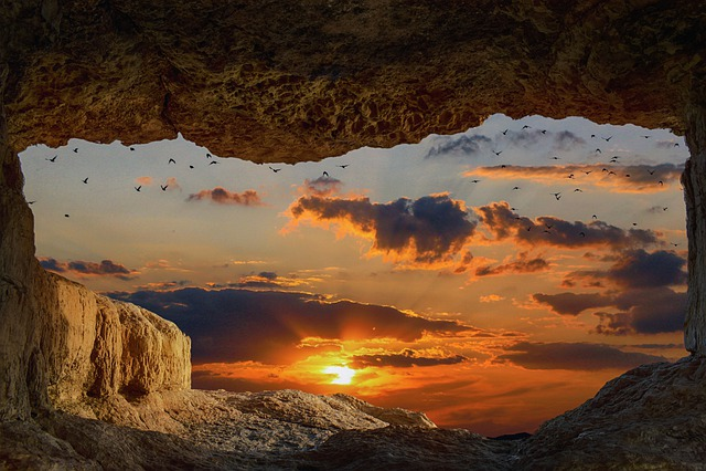 Landscape, Cave, Rock, Sunset, Sky, Clouds, Birds
