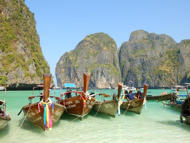 Boats, Sea, Rocks, Landscape, Ile, Koh Phi Phi