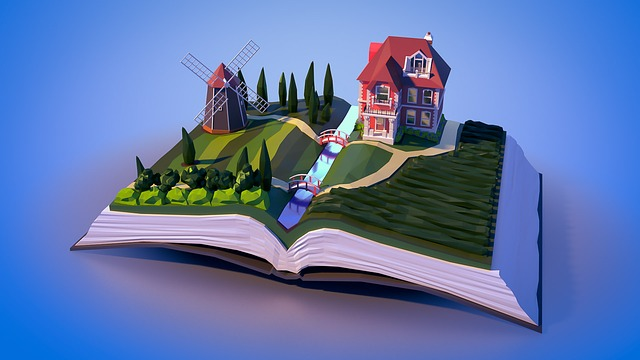 Landscape, Book, House, Windmill, Road, Building, Mill