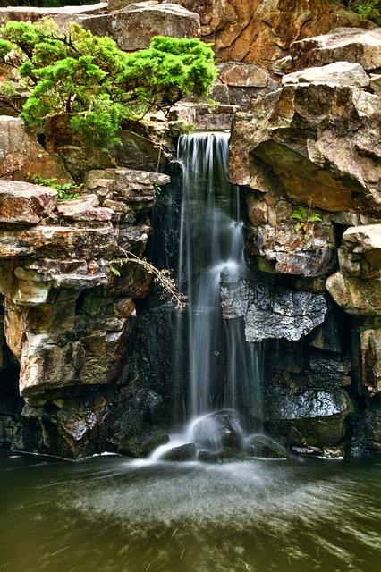 Waterfall, Landscape, Botanical Garden, Bochum