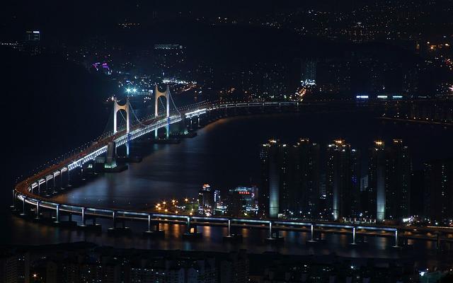 Republic Of Korea, Busan, Bridge, Sandy, Sea, Landscape