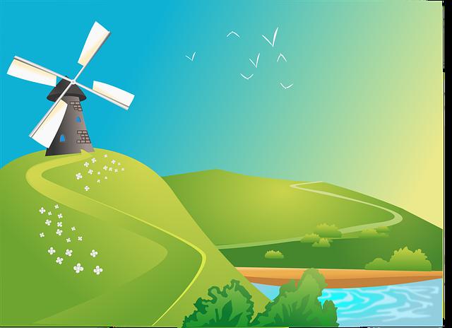 Bridge, Lake, Landscape, Windmill
