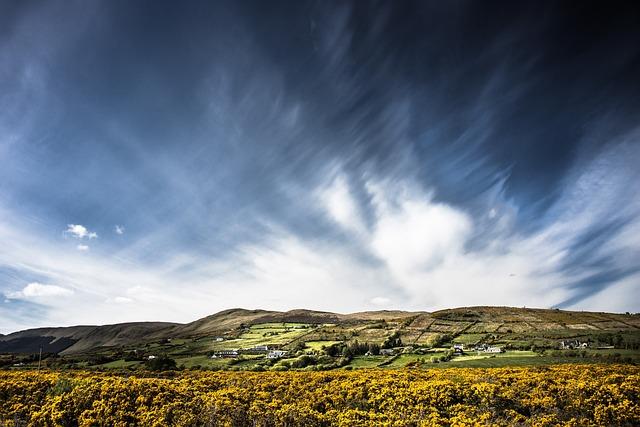 Tourmakeady, Ireland, Landscape, Broom, Sky, Clouds