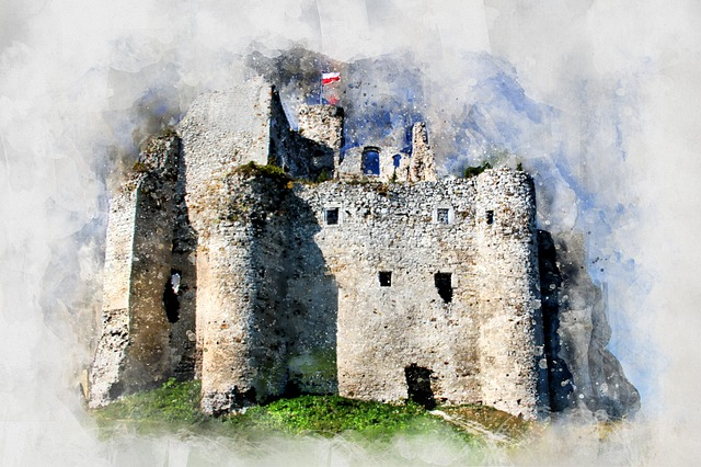 Castle, Watercolor, Polska, Landscape, Building, Old
