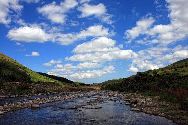River, Valley, Sky, Blue Sky, Clouds, Landscape, Nature