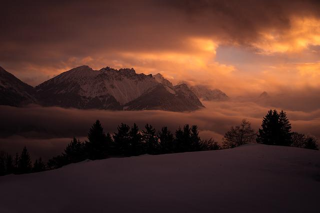Landscape, Wintry, Winter, Mountains, Snow, Snowy, Cold