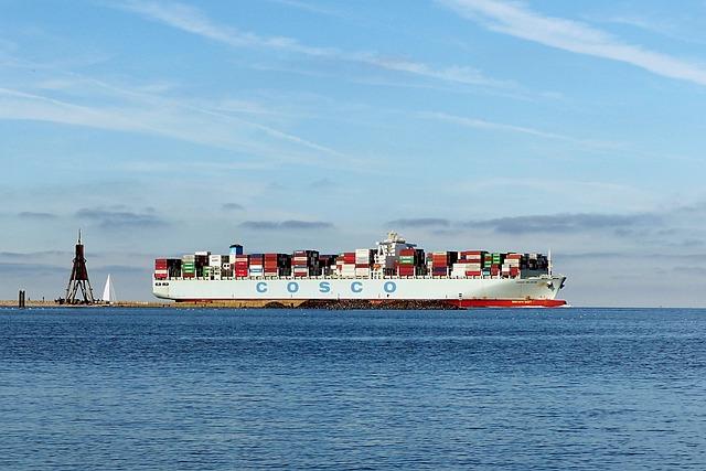 Landscape, North Sea, Container Ship, Elbe, Cuxhaven