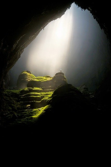 Cave, Cavern, Dark, Daylight, Landscape, Moss, Rocks