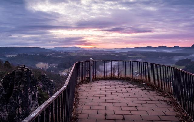 Sky, Panorama, Landscape, Nature, Dawn, Bastei, Saxony