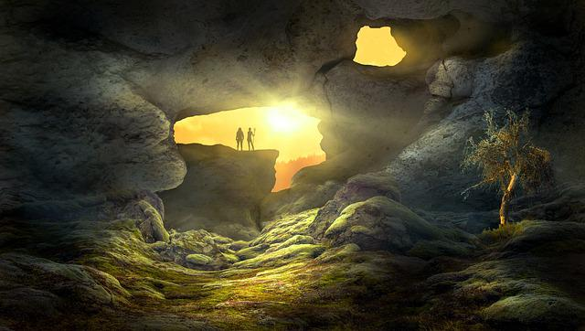 Fantasy, Landscape, Cave, Sun, Light, Human, Mystical
