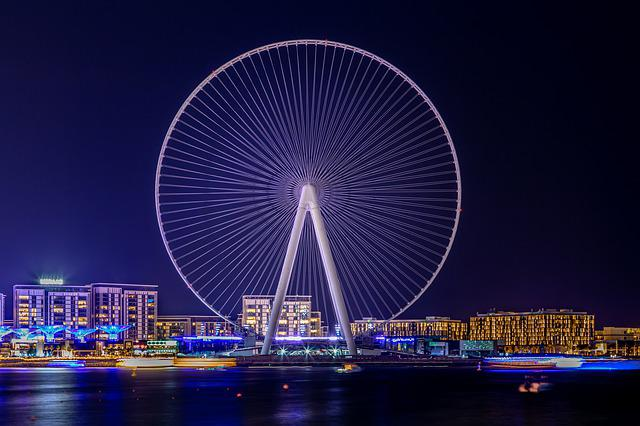 Ferris Wheel, Landscape, Dubai, U A E, Night, Lights