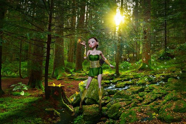 Fantasy, Forest, Girl, Trees, Frogs, Landscape