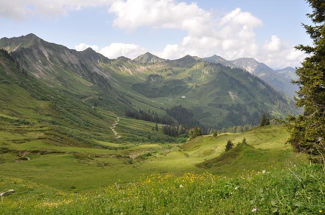 Mountains, Meadow, H, Sky, Landscape, Alm, Forest