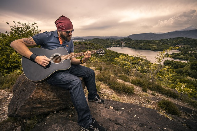 Guitarist, Acoustic Guitar, Man, Boy, Landscape, Music