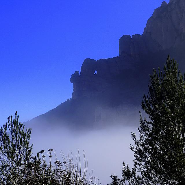 Fog, Inversion, Horizon, Montserrat, Landscape, Rock