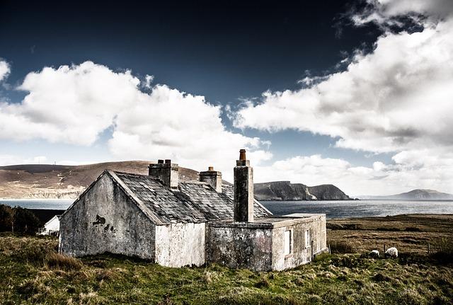 Hut, Ruin, Ireland, House, Sea, Clouds, Landscape