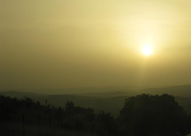 Sunset, In The Evening, Landscape, Sun, Hills