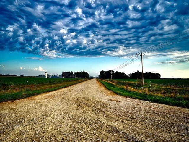 Iowa, Landscape, Dirt Road, Farm, Sky, Clouds, Fields