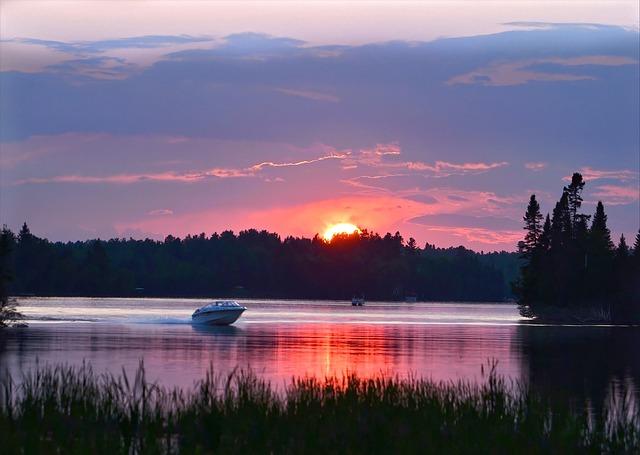 Sunset, Boat, Nature, Landscape, Twilight, Water, Lake