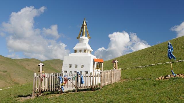 Mongolia, Steppe, Stupa, Landscape
