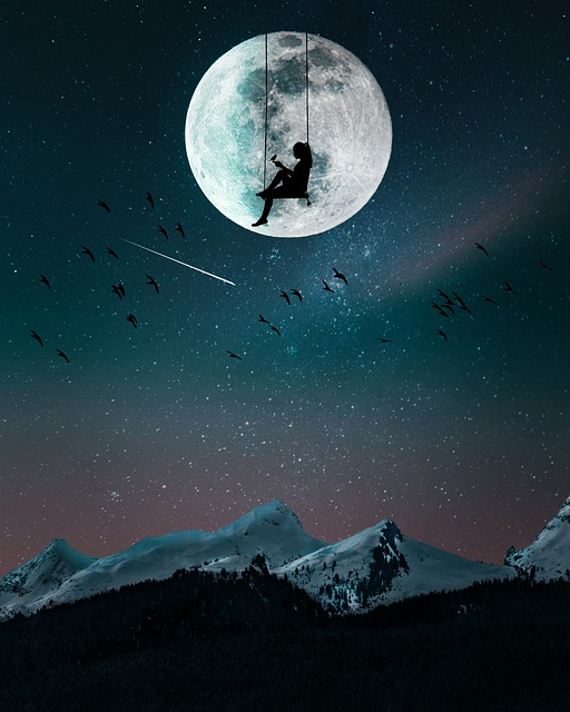 Mountain, Nights, Moon, Landscape, Nature, Stars, Sky