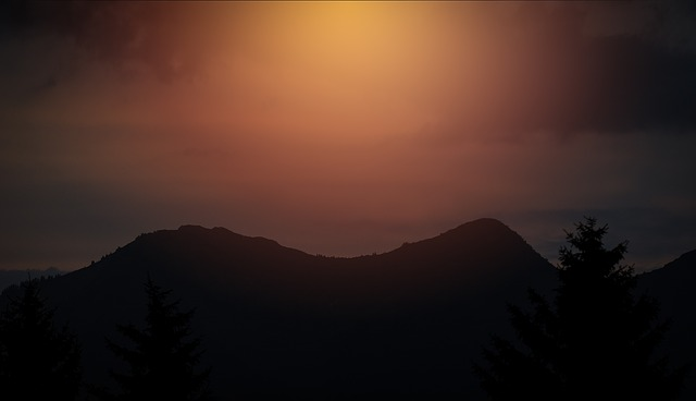 Mountains, Outline, Sunset, Nature, Landscape