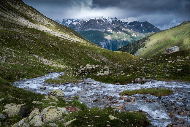 Landscape, Mountains, Stream, Water, Nature, Alpine