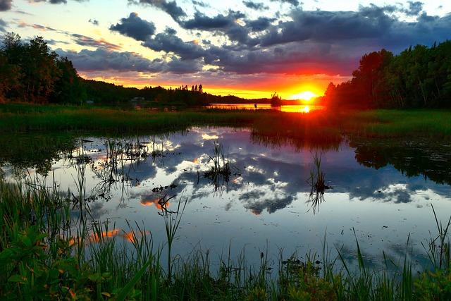 Landscape, Nature, Water, Sunset, Reflections, Sun