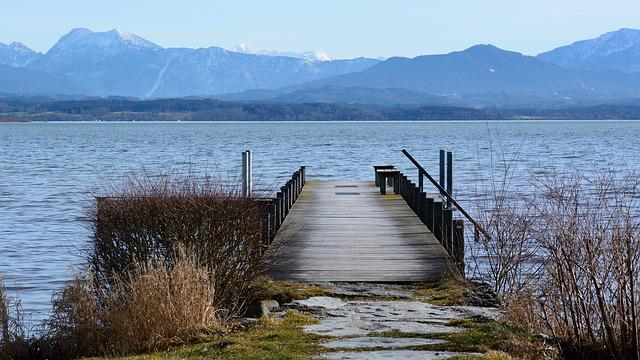 Boardwalk, Web, Pier, Lake, Chiemsee, Landscape