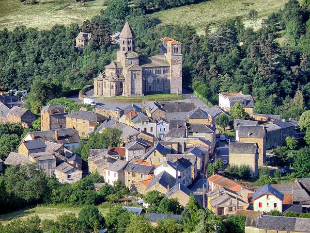 Puy-de-dome, France, Landscape, Town, Buildings, Church