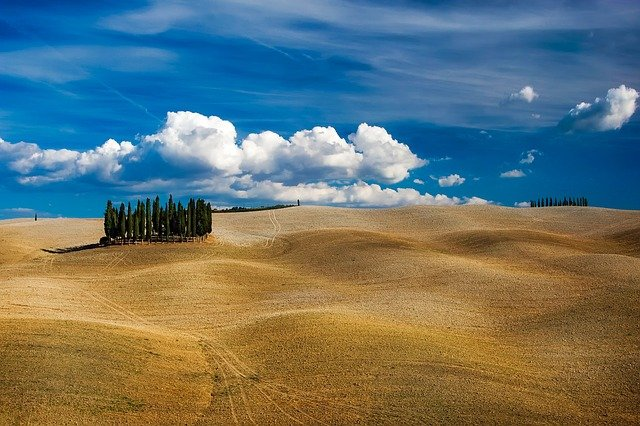 Tuscany, Italy, Hills, Rolling, Landscape, Scenic, Sky