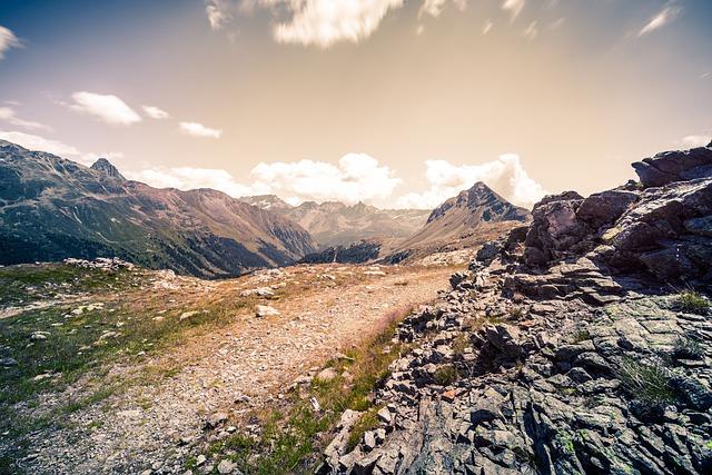 Mountains, Landscape, Sky, Clouds, Rocks, Path, Hiking