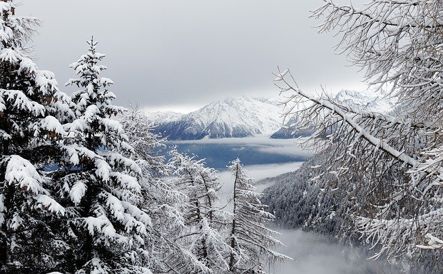 Winter, Snow, Fog, Forest, Landscape, Mountains