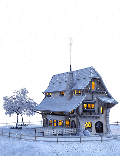 Christmas, Winter, Snow, Snowflakes, Landscape, House