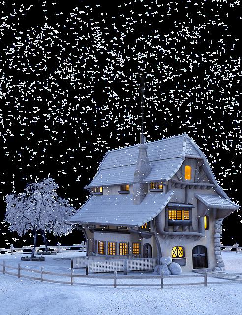 Christmas, Winter, Snow, Snowflakes, Landscape, House