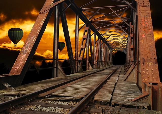 Bridge, Rustic, Hot Air Balloon, Sundown, Landscape